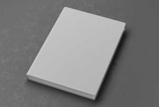 Mockup des notizblocks auf grauem tisch. leerer leerer notizblock, um ihr design zu bewerben. 3d-rendering.