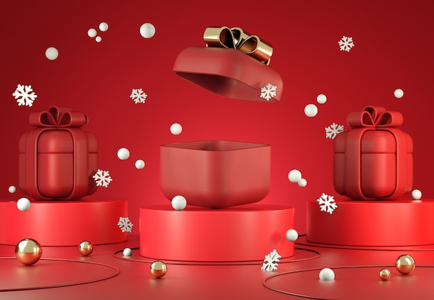 Mockup display red geschenkbox open blank space für die präsentation mit schneefall szene hintergrund 3d render