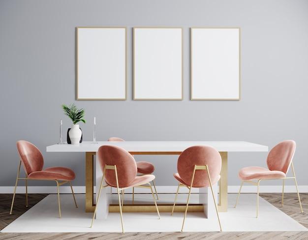 Mockup drei-poster-rahmen im modernen innenhintergrund mit rosa stuhl, wohnzimmer