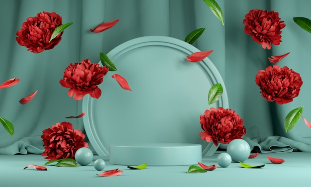 Mockup empty mint podium mit floraler roter pfingstrosenblume und blatt, das auf den bodenvorhang fällt