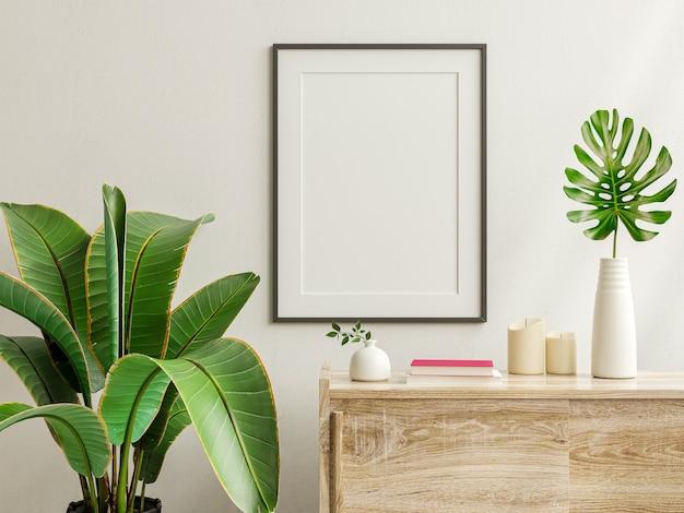 Mockup-fotorahmen auf dem holzschrank mit schönen pflanzen, 3d-rendering