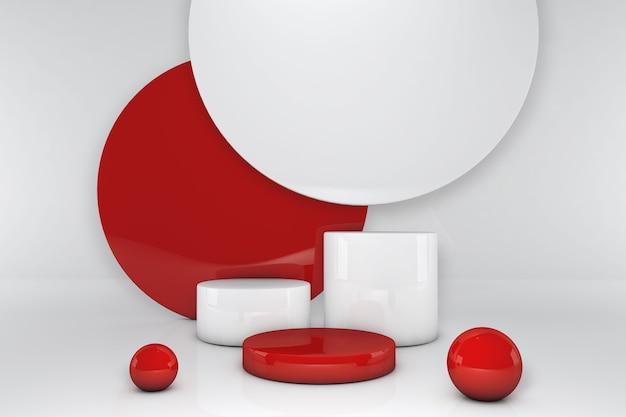 Mockup geometrische form zylinder rot und weiß podium. 3d-rendering des werbevorlagenraums für das produkt im minimalistischen stil.