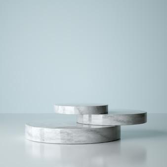 Mockup-gewinner-podium, abstrakter minimalismus und realistischer marmor, 3d-rendering