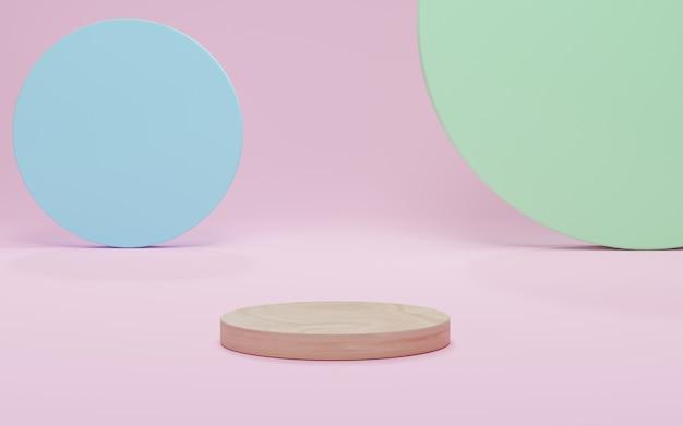 Mockup holzpodest, abstrakter minimalismus mit rosa szenenhintergrund, 3d-rendering, 3d-darstellung.