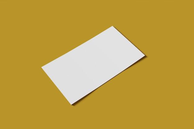 Mockup leere geschäft oder visitenkarte auf einem gelben hintergrund. 3d-rendering