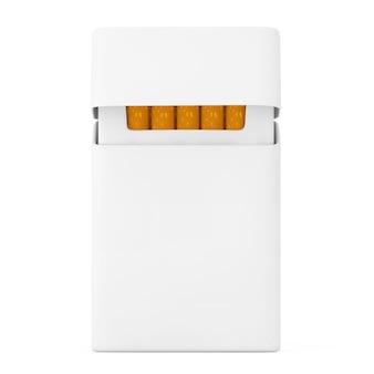 Mockup leere zigarettenpackung auf weißem hintergrund. 3d-rendering