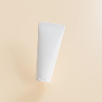 Mockup lotion tube für kosmetikprodukte, vorlage oder werbung auf beigem hintergrund, 3d-render