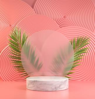 Mockup minimal white podium display auf unschärfe glas mit natürlichen palmblättern und rosa abstrakten hintergrund 3d render Premium Fotos