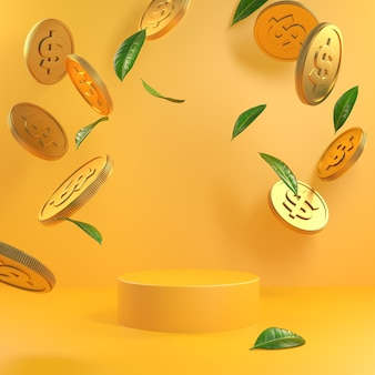 Mockup minimal yellow podium mit goldmünzen und grünen blättern falling 3d render