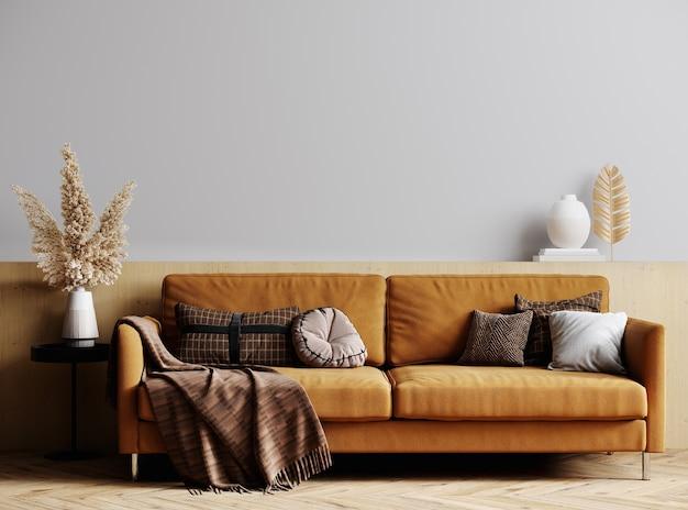 Mockup modernes interieur mit sofa im stilvollen wohnzimmer