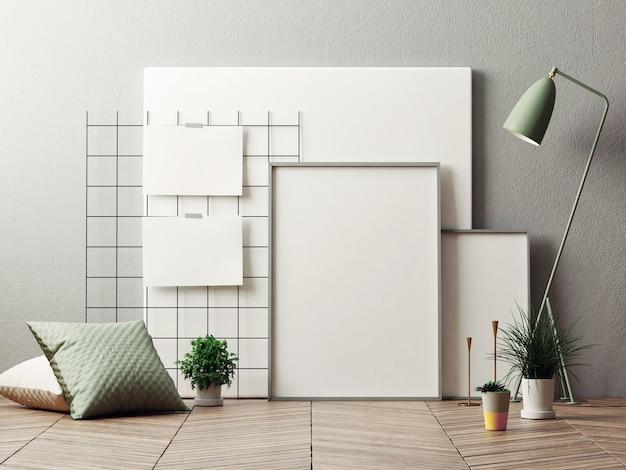 Mockup poster für produktpräsentation home decoration lampe und pflanze