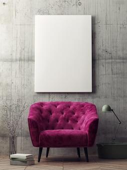 Mockup poster hipster wohnzimmer