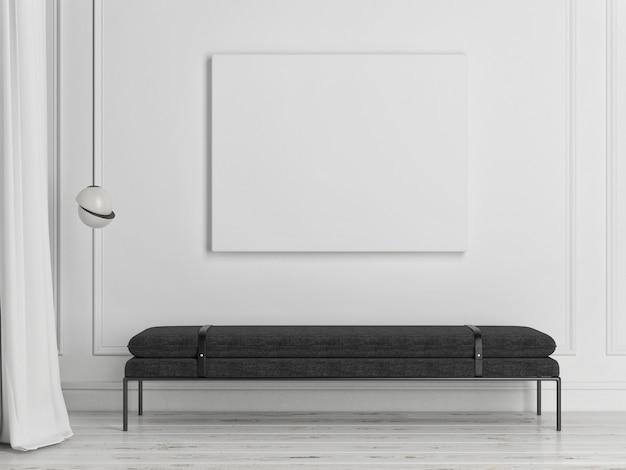 Mockup poster mit aufbewahrungsbank in minimalistischem innendesign interior