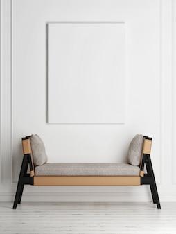 Mockup poster mit aufbewahrungsbank in minimalistischem innendesign interior Premium Fotos