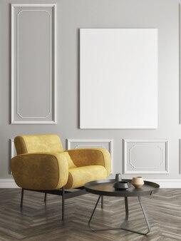 Mockup poster mit einem bequemen sessel im wohnzimmer