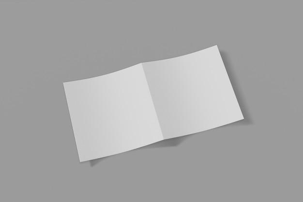 Mockup quadratische broschüre, broschüre, einladung lokalisiert auf einem grauen hintergrund mit weicher abdeckung und realistischem schatten. 3d-rendering.