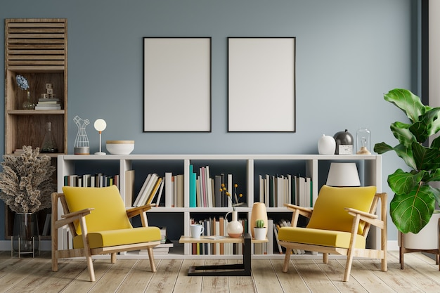 Mockup-rahmen des wohnzimmers mit sessel auf leerer hellblauer farbwand, bibliotheksraum. 3d-rendering