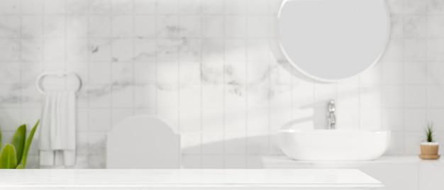 Mockup-raum auf weißer tischplatte für die montage von spa- oder badeprodukten über weißem badezimmer 3d-rendering