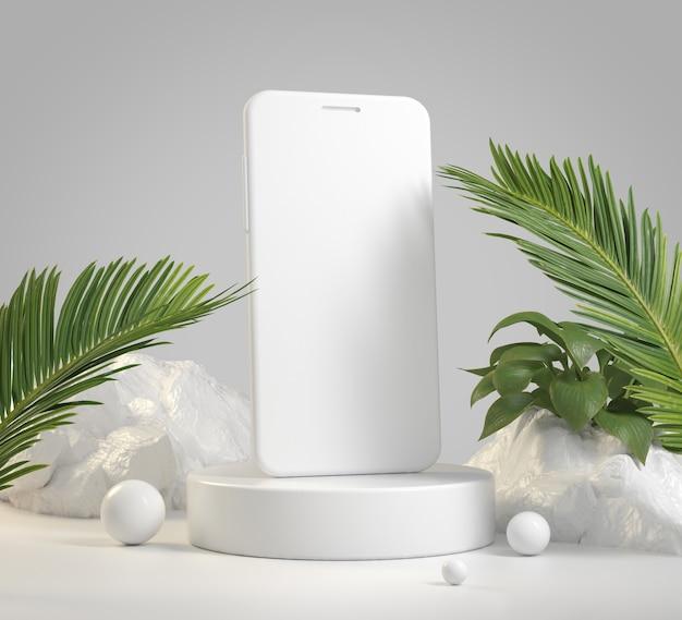 Mockup smartphone rahmenloser leerer bildschirm für mobile anwendung mit tropischem hintergrund 3d-rendering