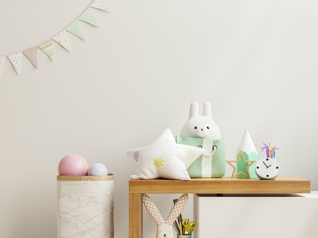 Mockup-wand im kinderzimmer auf holzregal, 3d-rendering