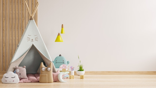 Mockup-wand im kinderzimmer, schlafzimmerinnenraum auf weißem farbhintergrund der wand. 3d-rendering