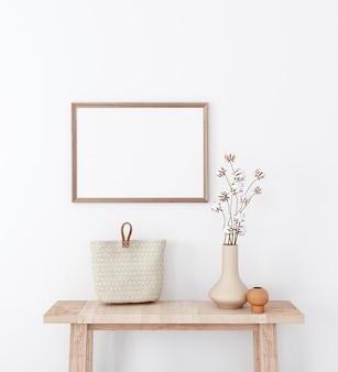 Mockup wohnzimmer im boho-stil mit süßem dekor