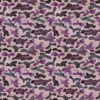 Mode militärische jagd tarnung abstrakten hintergrund. nahtloses waldmuster. braune, rosa, lila und blaue farben waldtextur. aquarell handgemalte illustration auf altem papier.