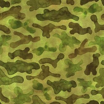 Mode militärische jagd tarnung abstrakten hintergrund. nahtloses waldmuster. braune, schwarze, grüne, gelbe farbe. aquarell handgemalte illustration.