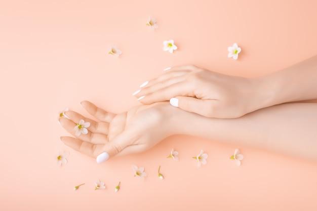 Modekunst übergibt frau im sommer und blume in ihrer hand. kreative schönheitsfoto-mädchen, die am tisch auf einem kontrastierenden rosa hintergrund mit farbigen schatten sitzen. spa-pflegekonzept