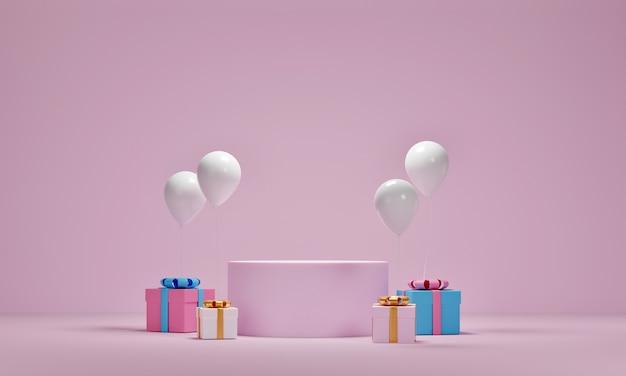Modell der geschenkbox und der luftballons mit plattform für kosmetische produktpräsentation auf rosa hintergrund. 3d-rendering.