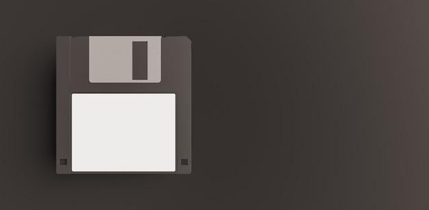 Modell der schwarzen diskette mit weißem etikett auf dunklem hintergrund und platz für text. 3d-rendering