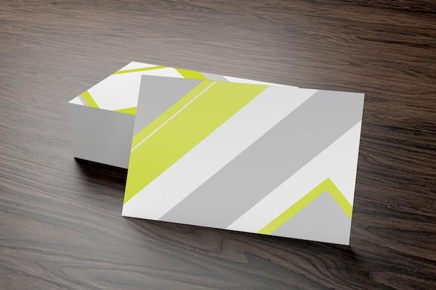 Modell der visitenkarte auf einem hölzernen hintergrund ing