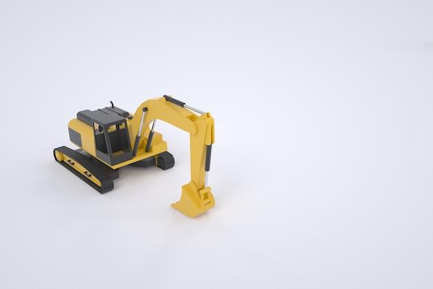 Modell eines gelben baggers in 3d-grafik. dreidimensionales modell des autos. bagger mit einem eimer. isolierter bagger auf weißem hintergrund.