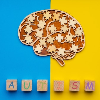 Modell eines menschlichen gehirns mit verstreuten puzzleteilen auf einem gelben und blauen hintergrund. sechs würfel mit der aufschrift autismus.