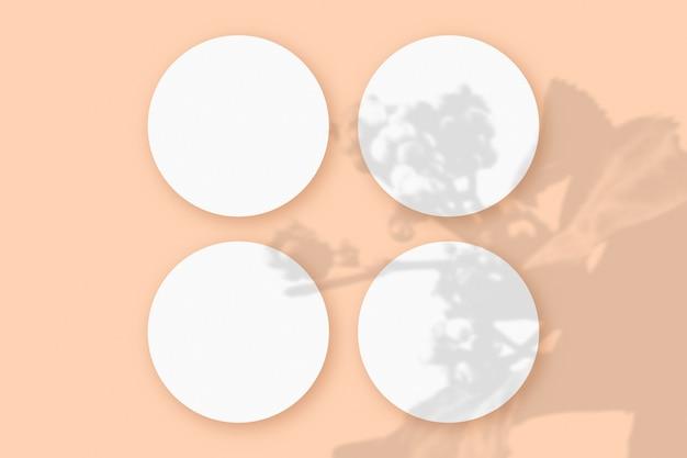 Modell mit gemüseschatten überlagert auf 4 runden blättern aus strukturiertem weißem papier auf rosafarbenem tischhintergrund.