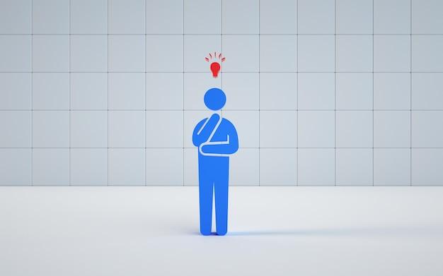Modell-rendering-illustration eines denkenden mannes