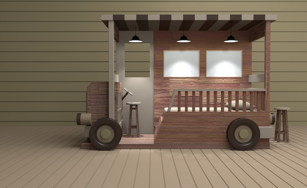 Modell truck ein wohnzimmer aus holz. 3d renering