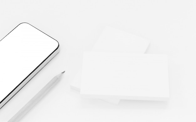 Modell von visitenkarten mit intelligentem telefon auf weißem strukturiertem papierhintergrund