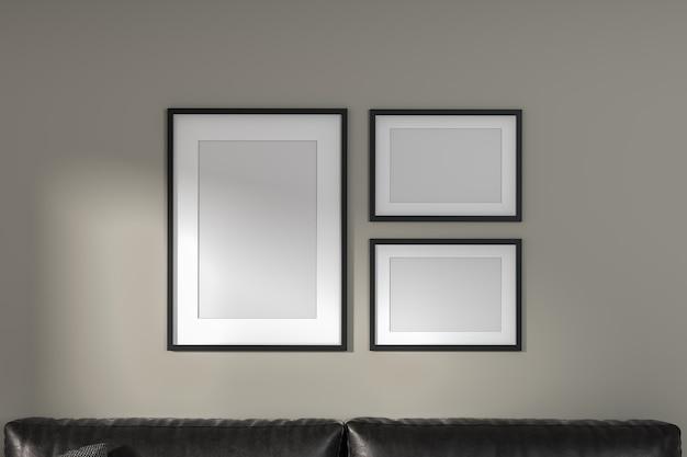 Modellieren sie drei rahmen an einer hellen wand und auf einem sofa. moderner minimalistischer stil. 3d-rendering.