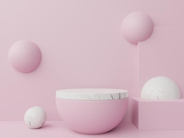 Modellieren sie ein abstraktes podium zum platzieren von produkten und zum platzieren von preisen auf pink