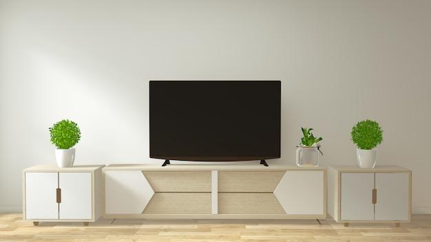 Modellieren sie tv-möbel und -display mit minimalistischem design und dekoration im japanischen stil