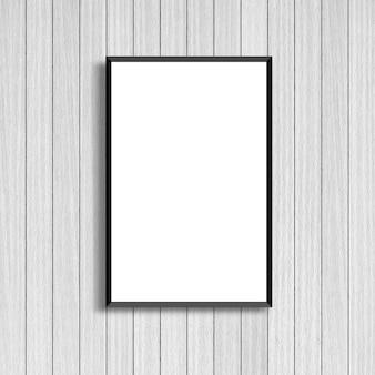 Modellieren sie weißen plakatrahmen auf modernem weißem hölzernem hintergrund