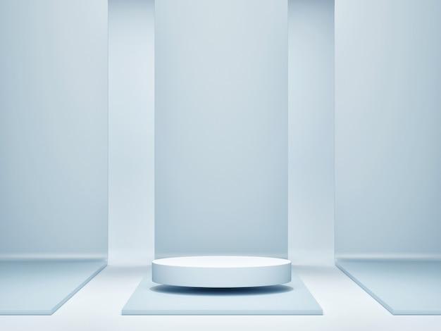 Modellplakat für präsentation, skandinavisches design des wohnzimmers mit hauptdekoration, grauer hintergrund, 3d-render, 3d-illustration