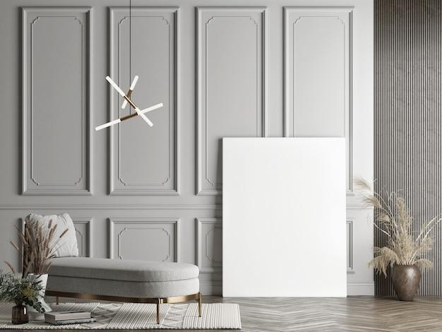 Modellplakat im grauen wandhintergrund des wohnzimmerkonzeptdesigns