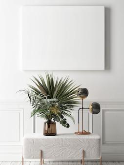 Modellplakat im skandinavischen stil mit blumen und heimdekoration