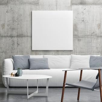Modellplakat in der weißen sofa-betonwand des wohnzimmers