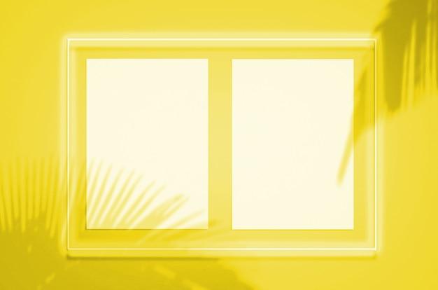 Modellplakat in einem neonrahmen mit einem gelben schein. beleuchtende pantone-farbe des jahres 2021
