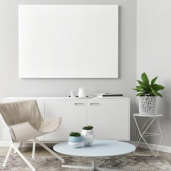 Modellplakat in pastellfarbe des wohnzimmerdesigns