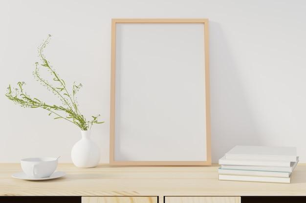 Modellplakat mit dem rahmen, der auf schreibtisch im wohnzimmer steht. 3d-rendering. - illustration