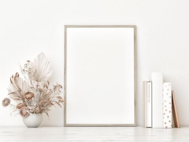 Modellplakat mit vertikalem holzrahmen auf dem weißen boden, bücher und blumendekoration, 3d rendern, 3d illustration.